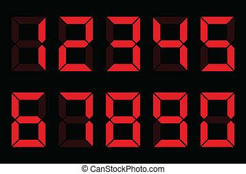 digital numbers - red digital numbers on black background