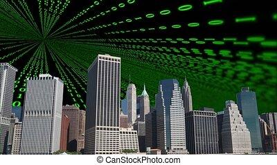 Digital numbers floating on black sky with new york skyline