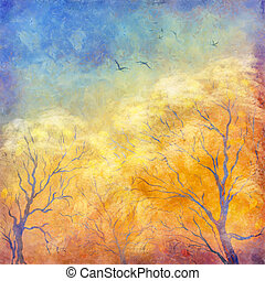 Digital art autumn landscape as oil painting. Grunge picture showing trees, brush strokes dramatic sky, flying migratory birds. Modern Impressionism. Artistic textured surface of the canvas