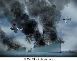 Digital Oil Painting Pearl Harbour - Digital Oil Painting of...