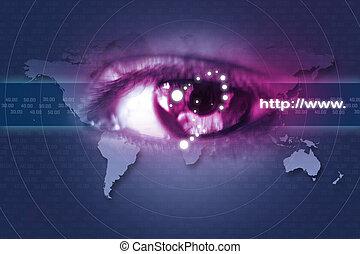digital, olho, ilustração, varredura