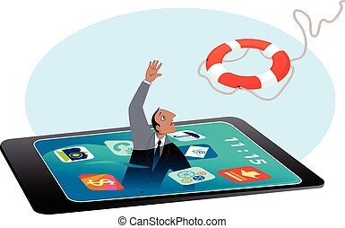 Man drowning in a smartphone screen, reaching for a lifebuoy, EPS 8 vector illustration, no transparencies, no mesh