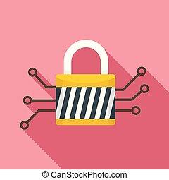 Digital padlock icon, flat style