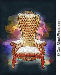 Digital painting of a Elegant golden royalty throne.