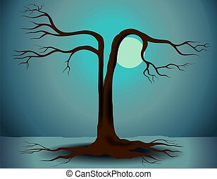 Digital painting of a tree in the presence of moon.