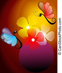 Digital painting of butterfly in red background.