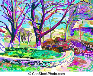 painting of natural village landscape
