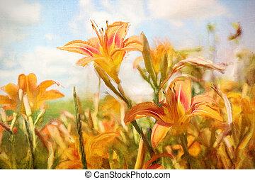 Digital painting of orange daylilies