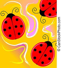 Digital painting of three ladybird - The artist is feeling ...