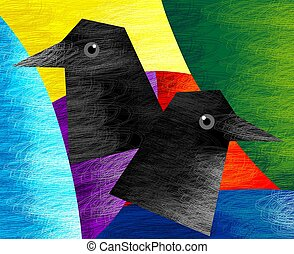 Digital painting of two birds in pattern background.