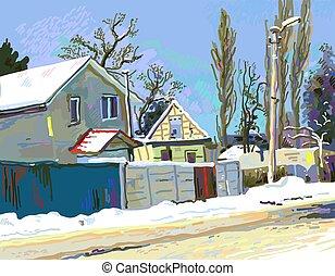 digital painting of winter Ukrainian rural landscape