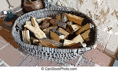 Digital painting style that represents a large basket full of pieces of firewood