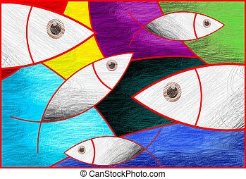 Digital painting symbolic fishes in pattern background