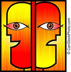 Digital painting two symbolic humans in red and orange background.