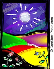 paintings - Digital paintings of nature with sun and planet.