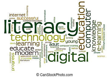 digital, palabra, nube, alfabetismo