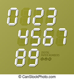 Digital paper numbers set illustration