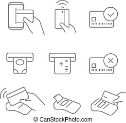 Digital payment icons set. Linear pictograms collection
