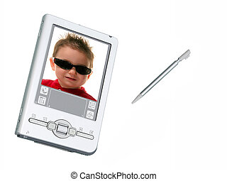Digital PDA Camera & Stylus Over White - Silver palmtop...