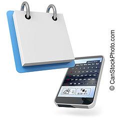 digital personal agenda - mobile phone and blank calendar on...