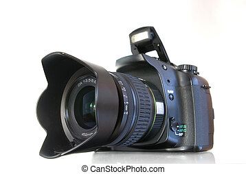 Digital photo camera on white background