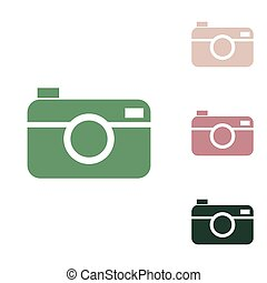 Digital photo camera sign. Russian green icon with small jungle green, puce and desert sand ones on white background.
