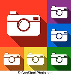 Digital photo camera sign. Vector. Set of icons with flat shadows at red, orange, yellow, green, blue and violet background.