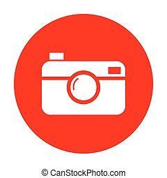 Digital photo camera sign. White icon on red circle.