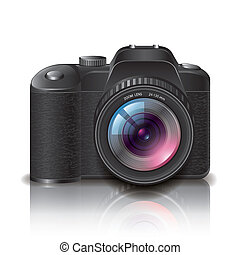 Digital photo camera isolated on white photo-realistic vector illustration