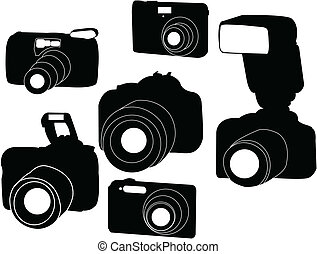 photo cameras - Digital photo cameras silhouette - vector