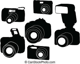 photo cameras - Digital photo cameras silhouette - vector