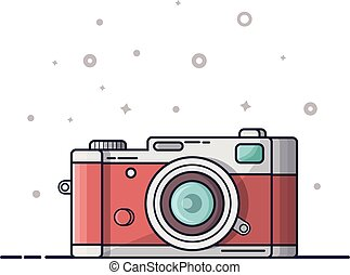 Digital photography icon, logo. Photocamera isolated on white background. Modern picture, artoon flat line style vector illustration.