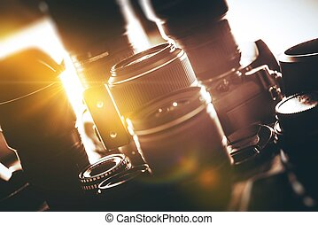 Digital Photography Lenses Dream Set. Single Light Ray in Between Lenses. Digital Photography Equipment.