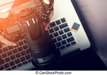 Digital Photography Workstation. Modern Digital DSLR Camera,...