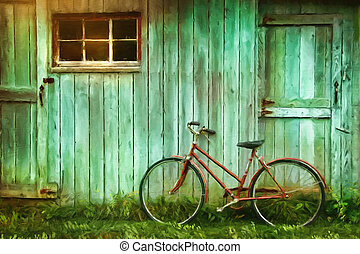 digital, pintura, de, bicicleta vieja, contra, granero