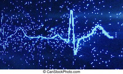 digital pixel EKG electrocardiogram blue background