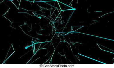 digital plankton.Abstract plexus background for different events and projects.Seamless loop.