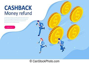 digital, poupar, ou, online, pagamento, cashback, eletrônico, refund., service., concept., isometric, dinheiro, invoice.
