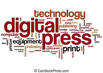 Digital press word cloud concept