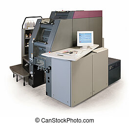 digital printing press - Digital printing press on white