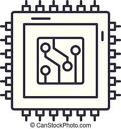 Digital production line icon concept. Digital production vector linear illustration, symbol, sign
