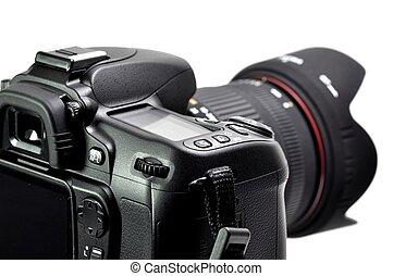 digital, profissional, câmera