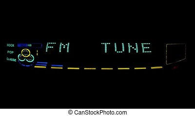 Digital radio receiver tune dial panel. Search for stations....
