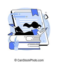 Digital reading abstract concept vector illustration. E-...