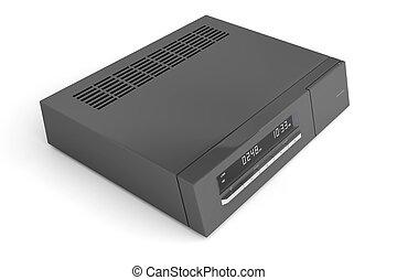 Digital receiver - Black digital receiver on white...