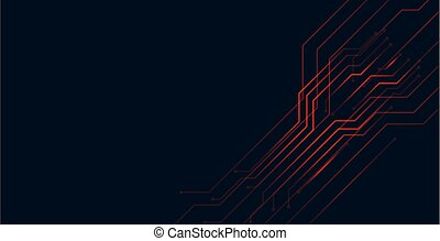 digital red circuit lines technology background design