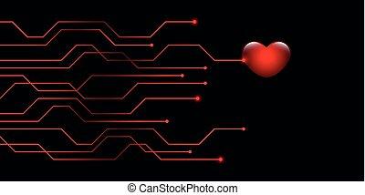 digital red heart online dating concept