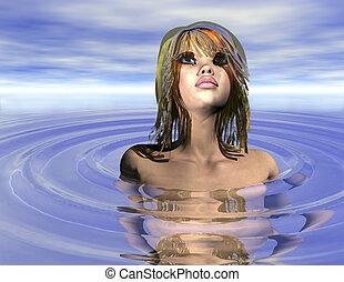 bathing belle - digital rendering of a bathing belle
