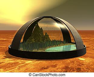 biosphere - digital rendering of a science fiction biosphere