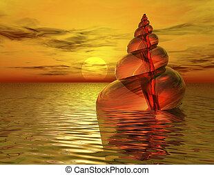 snail - digital rendering of a snail shell in water